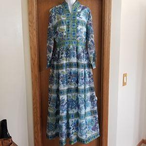 Gorgeous Vintage 70s Hostess Maxi Dress L
